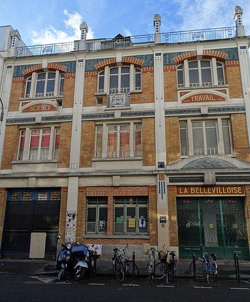 Façade d ela Bellevilloise, 20 rue Boyer à Paris.