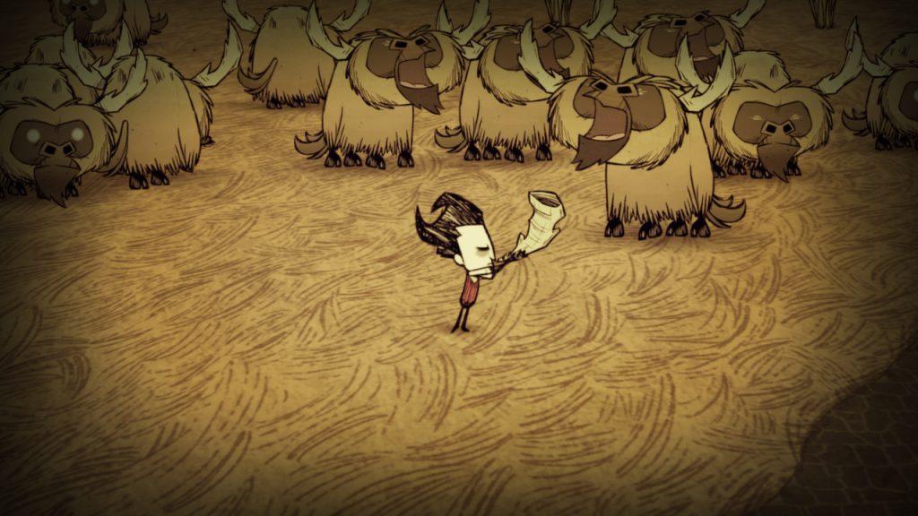 Le personnage de Don't Starve devant un troupeau