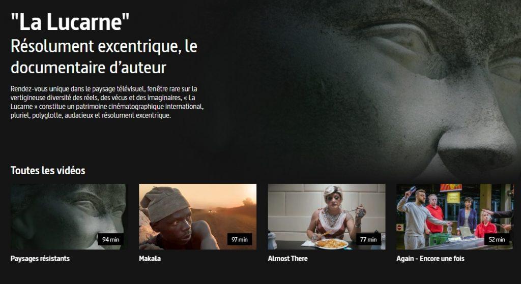 Capture écran de la page d La Lucarne sur le site arte.tv