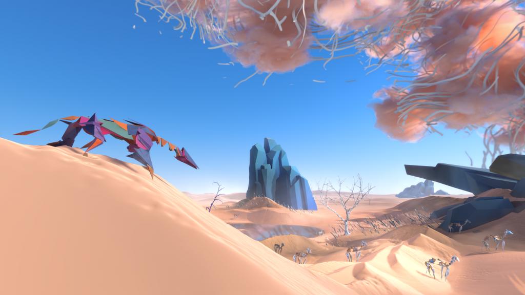 Image du jeu paper beast : des sortes de félins dans un paysage désertique