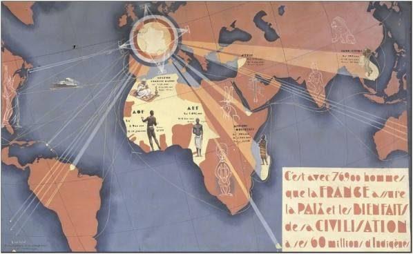 Carte illustrée de la France et ses colonies. La France est marquée d'un soleil qui rayonne