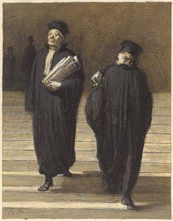 dessin de deux avocats sur des marches