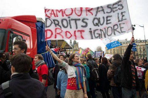 des manifestants pro mariage pour tous, décembre 2012
