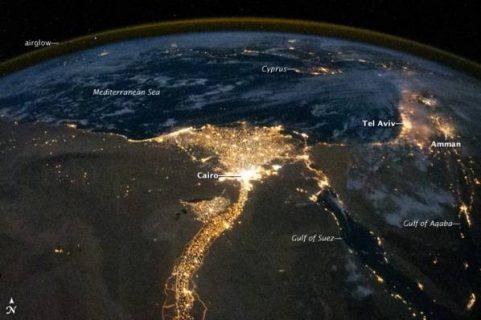 photographie du Nil vu du ciel