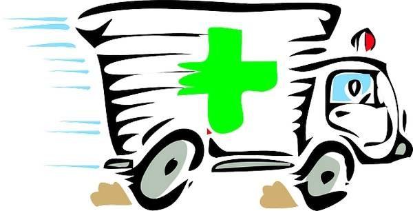 dessin d'une ambulance (urgences, soins premiers recours)