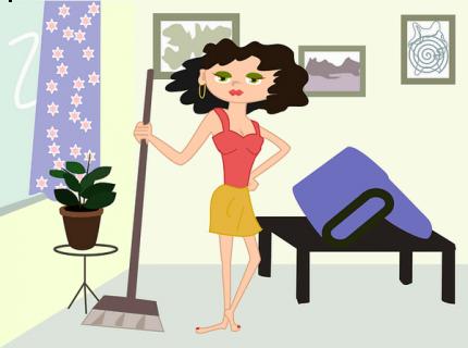 Dessin, femme nettoyant un appartement