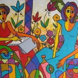 représentation du tableau d'Issami Mohammed : Femmes (artiste contemporain)