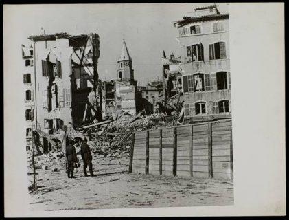 photographie de la destruction des vieux quartiers de Marseille,  février 1943