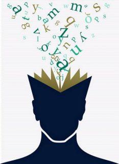 image d'un visage livre d'où s'échappent un nuage de lettres