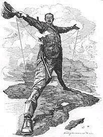 Cecil Rhodes, fondateur de la compagnie De Beers et propriétaire de la British South Africa Company, dominant l'Afrique