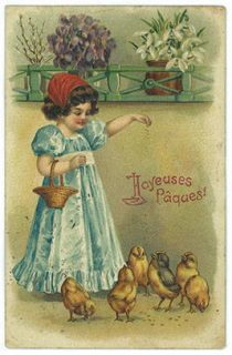 Petite fille nourrissant des poules