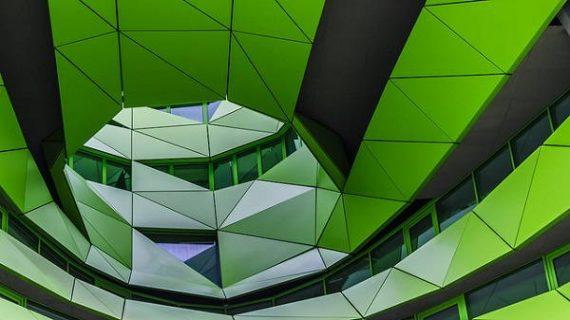 Détail architectural vert