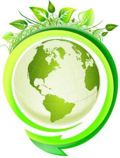 schéma globe terrestre entouré de feuilles