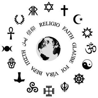 la Terre entourée par les symboles de chaque religion