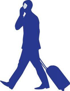 Image d'un homme d'affaires, portable et valise à la main