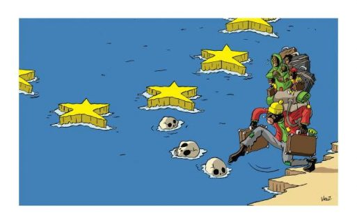 Une famille africaine s'apprête à traverser la mer Méditerranée en posant le pied sur des crânes qui flottent.