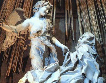 Détail de la sculpture L'extase de Sainte Thérèse de Gian Lorenzo Bernini dit Bernin