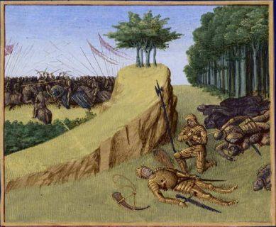 La Mort de Roland, Grandes Chroniques de France, enluminées par Jean Fouquet