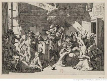 Estampe intitulée : pièce facétieuse sur le magnétisme (1784-1785)