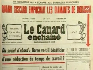 L'INA propose des extraits vidéo portant sur les grandes affaires révélées par le Canard enchaîné.