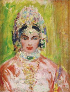 Tableau intitulé Jeune femme en costume de fête, par Marguerite Delorme