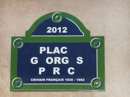 Plaque « Disparition » en hommage à Georges Perec. Oeuvre de l'artiste Christophe Verdon.