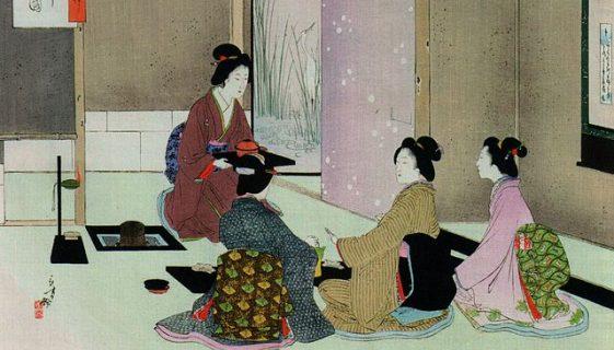 Estampe d'une cérémonie de thé