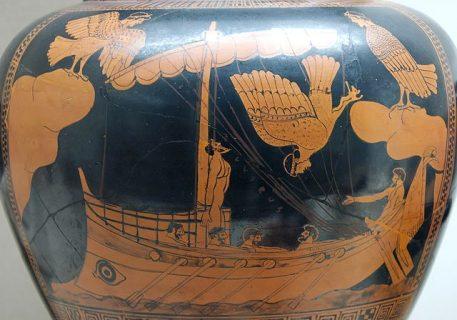 Vase antique représentant Ulysse et les sirènes