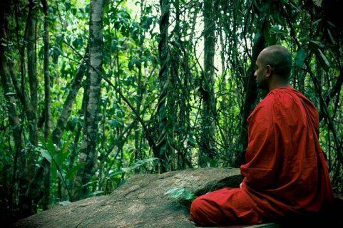 Photographie d'un moine bouddhiste en train de méditer