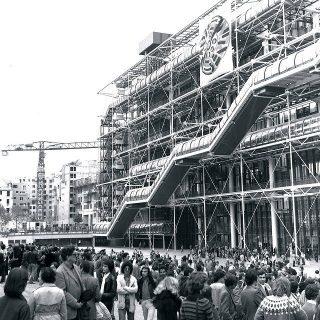 Bâtiment du Centre Pompidou en 1977