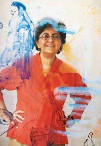 Nalini Malani dans son atelier de Bombay
