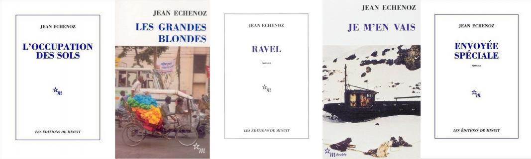 Montage de couvertures des romans de Jean Echenoz