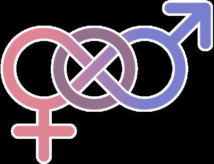 Symboles masculin et féminin reliés par le symbole de l'infini