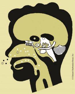 illustration : coupe d'un visage humain avec numéros pour noter les étapes du chemin des odeurs