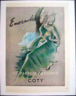 Publicité des années 50 du parfum Emeraude de Coty