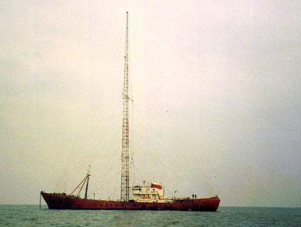 Photographie du Ross Revenge, bateau émetteur de Radio Caroline depuis 1983