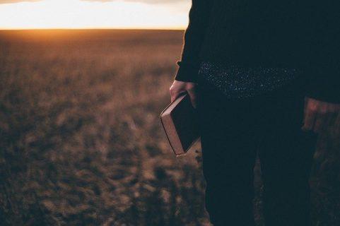 Une main tient un livre au soleil couchant