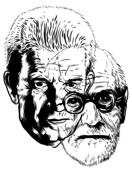 Portraits superposés de Freud et Lacan