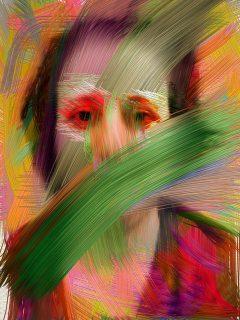 Autoportrait peint, d'une femme en détresse