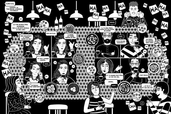 image de Prendre refuge, personnages à table