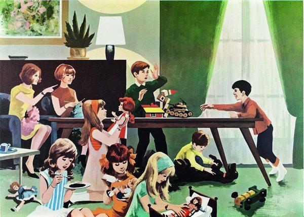 Enfants occupés à divers jeux