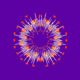 Une onde sonore colorée en cercle, sur fond violet