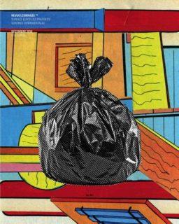 Un sac poubelle sur fond coloré pop