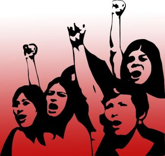 dessin de personnages qui protestent