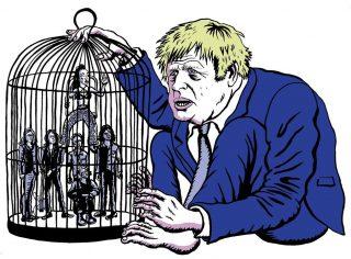 Illustration : le premier ministre Boris Johnson devant une cage remplie de musiciens