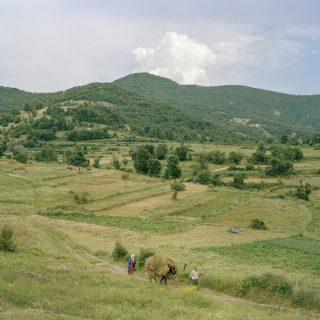 Une prairie vallonnée où passent deux paysans.