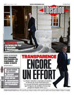 Une du journal Libération du 19 décembre 2019