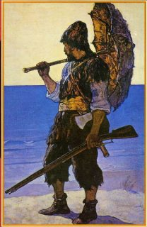 Robinson Crusoe avec son ombrelle