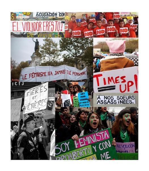 mosaïque de photos de manifestations féministes