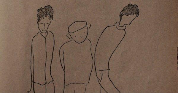 Trois adolescents dessinés d'un trait